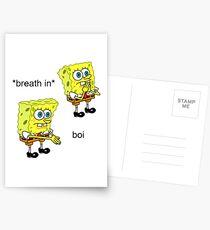 Spongebob Boi Meme Aufkleber, Postkarten