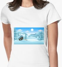 Winter scene covered with mountain hut and snow Women's Fitted T-Shirt