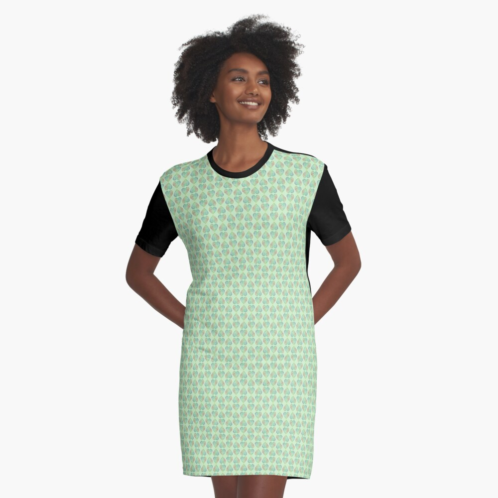 Paw Hearts Green Graphic T-Shirt Dress Front