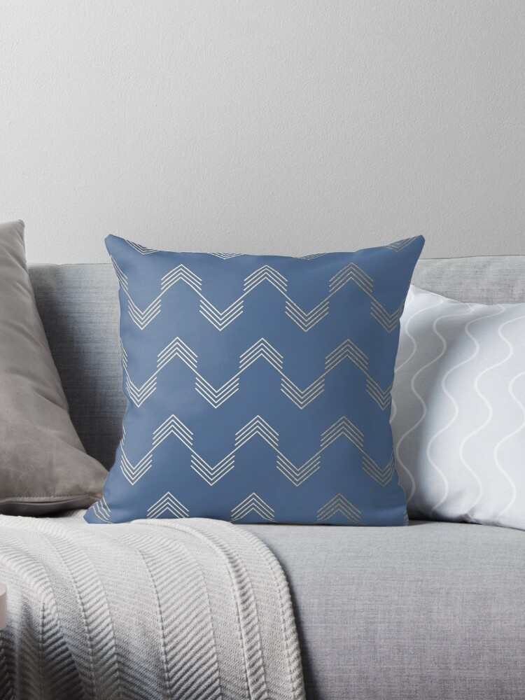 Aegean Blue and White Gold Sands Geometrical Deconstructed Chevron Pattern by SimpleLuxe
