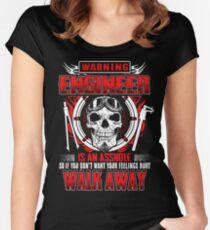 WARNING ENGINEER IS AN ASSHOLE  Women's Fitted Scoop T-Shirt