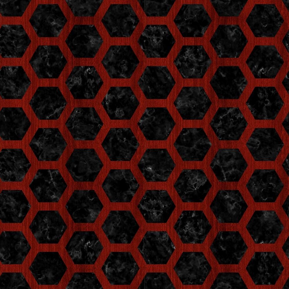 HEXAGON2 BLACK MARBLE & REDDISH-BROWN WOOD (R) by johnhunternance