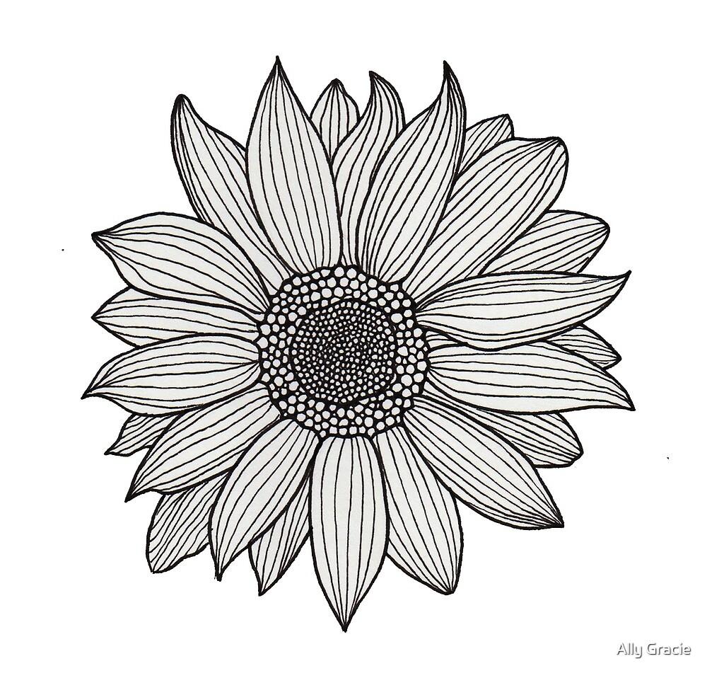 Sunflower Zentangle by Ally Gracie