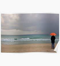 Lone person stands on a deserted beach in winter Poster
