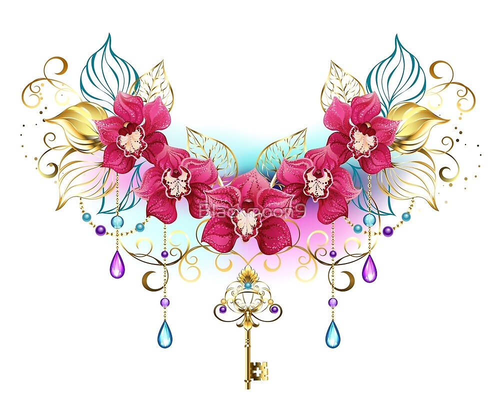 Pink Orchids with Beads and Gold Key by Blackmoon9