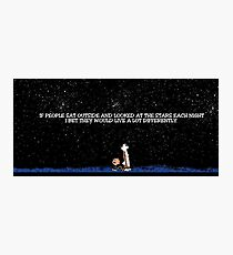 Calvin and Hobbes Night Sky Sticker Photographic Print