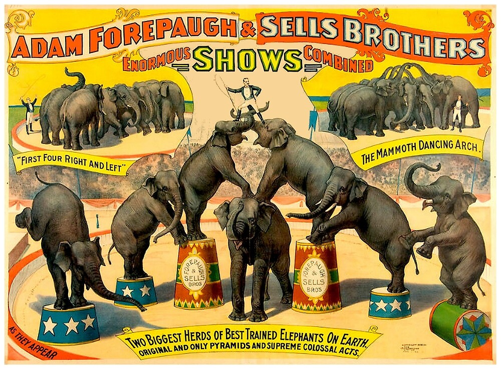 ADAM FORPAUGH and SELLS BROTHERS : Vintage Circus Prints by posterbobs