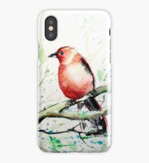 Watercolor Bird on Branch in a Spring Day iPhone Case/Skin