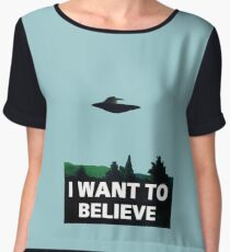I WANT TO BELIEVE Women's Chiffon Top