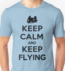 Keep Calm and Keep Flying (Black) T-Shirt