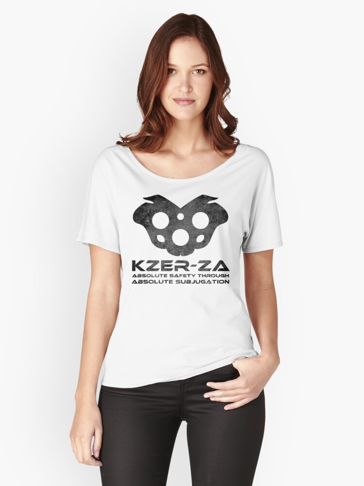 KZER-ZA Black Women's Relaxed Fit T-Shirt Front