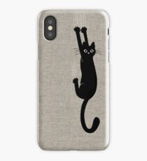 Black Cat Holding On iPhone X Case