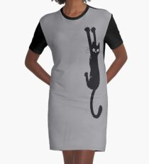 Black Cat Holding On Graphic T-Shirt Dress