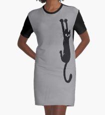 Black Cat Holding On Graphic T-Shirt Dress