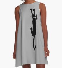 Black Cat Holding On A-Line Dress