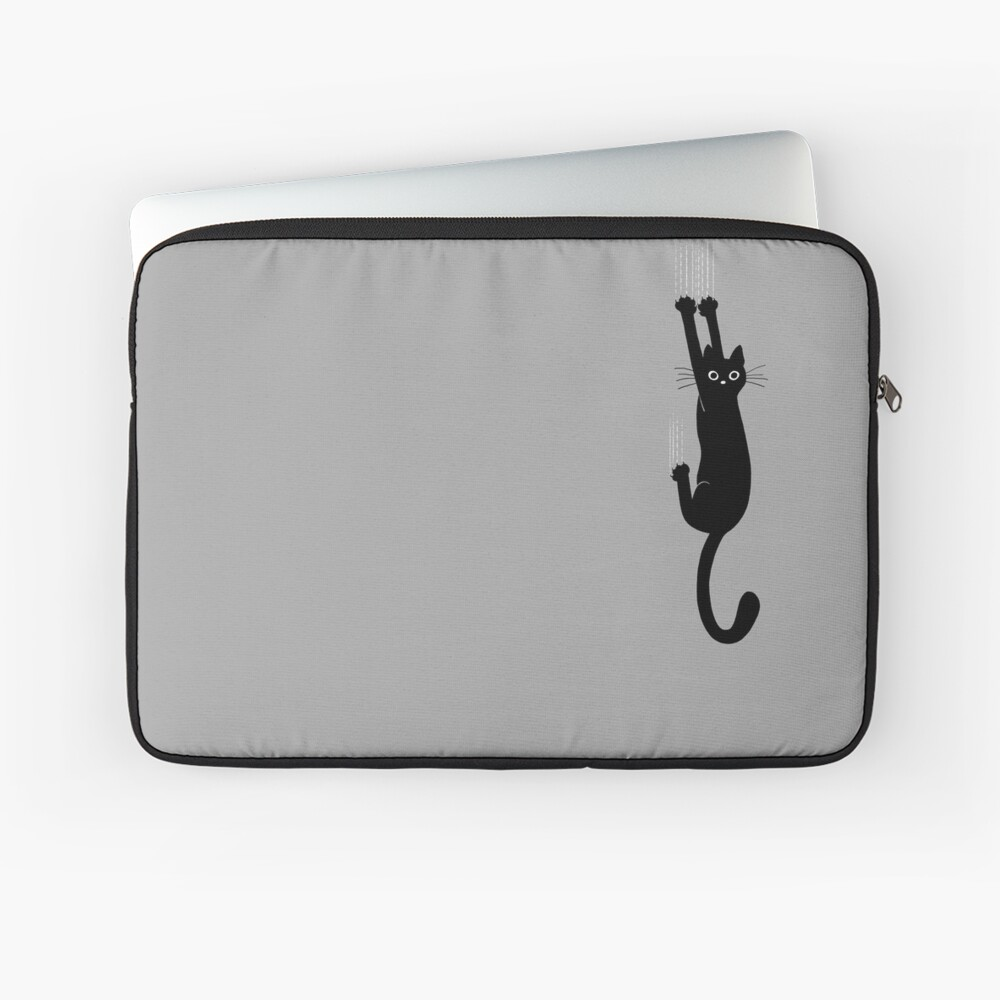 Black Cat Holding On Laptop Sleeve