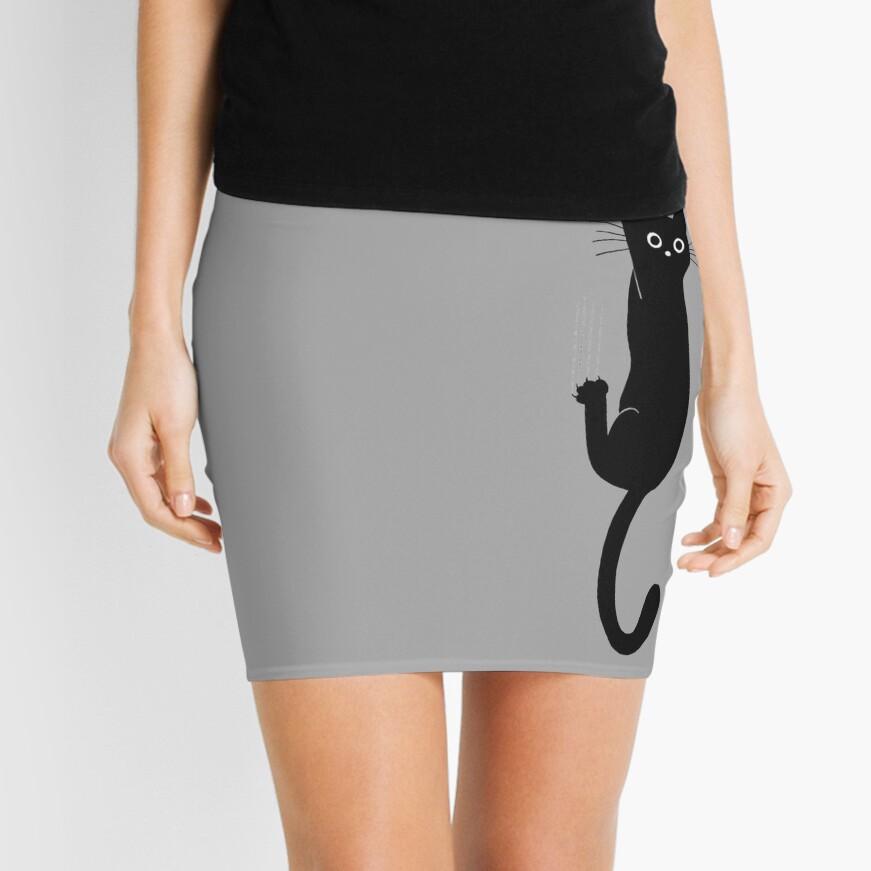 Black Cat Holding On Mini Skirt