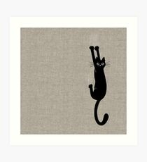 Black Cat Holding On Art Print