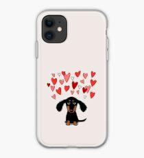 Nettes Dachshund-Hündchen mit Valentine Hearts iPhone-Hülle & Cover