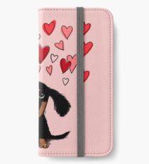 Cute Dachshund Puppy with Valentine Hearts iPhone Wallet/Case/Skin