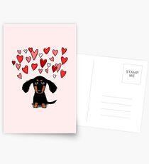 Cute Dachshund Puppy with Valentine Hearts Postcards