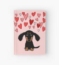 Cute Dachshund Puppy with Valentine Hearts Hardcover Journal