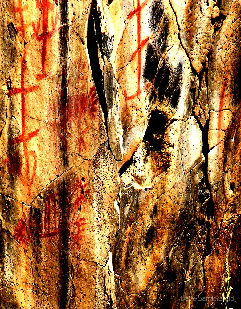 Red Hematite & White Paint Pictograph in Picture Gorge, OR by Dave Sandersfeld