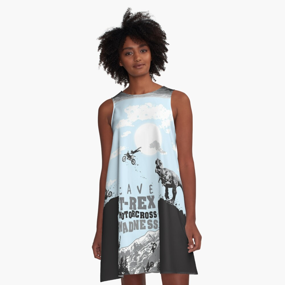 Cave T-Rex Motorcross Madness - Pre & Modern Fantasy Art Theme A-Line Dress Front