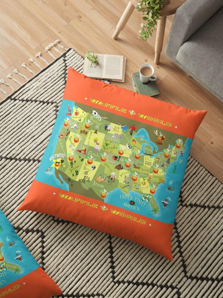 Waffle World Map Floor Pillows By Ellador Redbubble