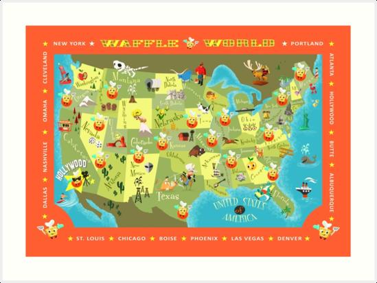 Waffle World Map Art Prints By Ellador Redbubble