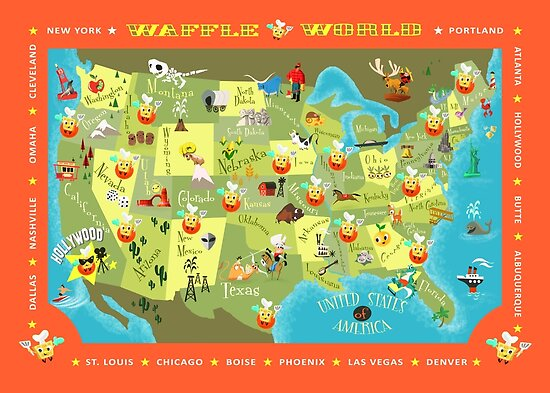 Waffle world map posters by ellador redbubble waffle world map gumiabroncs Images