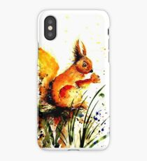 Cute Watercolor Squirrel eating Nuts  iPhone Case/Skin