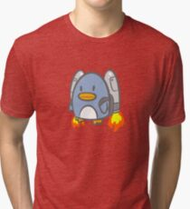 Flying Jetpack Penguin Tri-blend T-Shirt