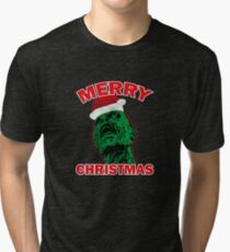 Funny Ugly Christmas Zombie Santa Hat Gift Ideas Tri-blend T-Shirt