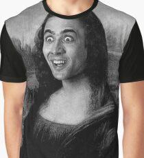 Mona Lisa ~ Nicolas Cage (Black & White) Graphic T-Shirt