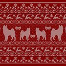 Ugly Christmas sweater dog edition - Akita / Shiba inu red by Camilla Mikaela Häggblom