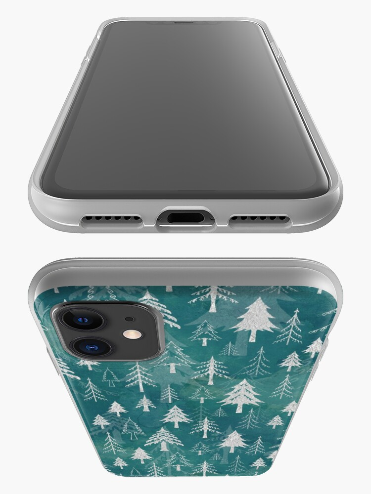 Alternate view of Christmas tree mix in arctic blues iPhone Case & Cover