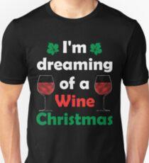 Cute Christmas Tee I'm Dreaming of a Wine Christmas T-Shirt