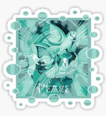 Dove With Celtic Peace Text In Aqua Tones Sticker