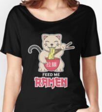 Kawaii Maneki Neko Eating Ramen Women's Relaxed Fit T-Shirt