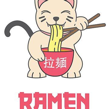 Kawaii Maneki Neko Eating Ramen by Sublantis