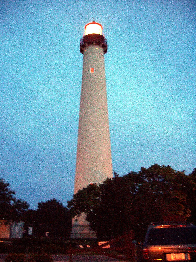 Cape May Lighthouse - Lighted by Maria  Palumbo