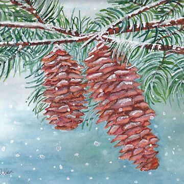 Frosty Pine Cones by Lallinda