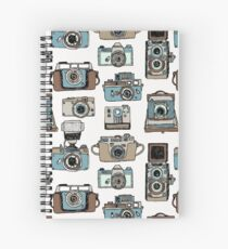 Hand drawn pattern with old fashioned cameras Spiral Notebook