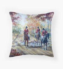 Autumn Hounds and Horses Throw Pillow