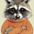 Raccoon in winter sweater by elinakious