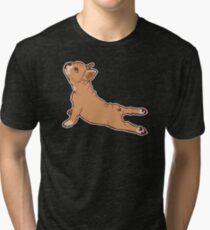 French Bulldog Funny Yoga Graphic Tshirt  Tri-blend T-Shirt