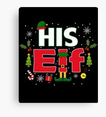 His Elf Legs Funny Christmas Couples Costume Gifts Canvas Print