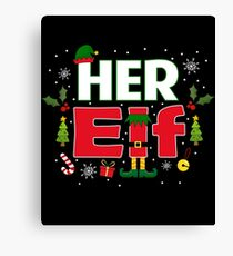 Her Elf Legs Funny Christmas Couples Costume Gifts Canvas Print