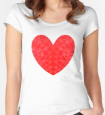 Red Heart Low Poly Art Women's Fitted Scoop T-Shirt